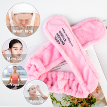 Eyelashes Extension Spa Facial Headband Make Up Wrap Head Terry Cloth Headband Stretch Towel with Magic Tape Makeup Hairband