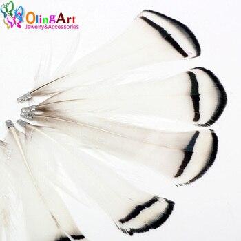 OlingArt plumas naturales 12 Uds. 8cm blanco negro rayas mujeres collar pendientes borlas DIY joyería fabricación llavero colgantes