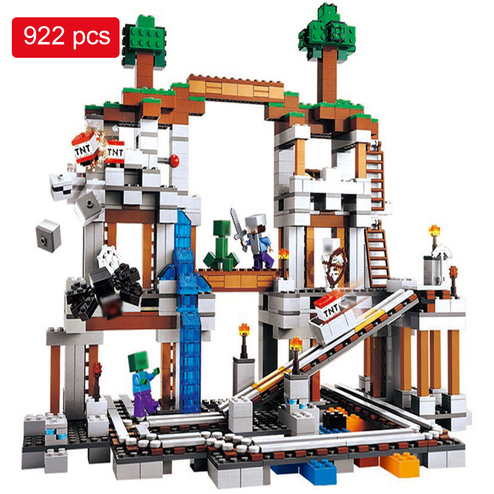 922pcs Mine Mountain Building Blocks My World Figures Bricks Educational Toys For Kids Compatible with Legoed Minecrafted City 2 sets jurassic world tyrannosaurus building blocks jurrassic dinosaur figures bricks compatible legoinglys zoo toy for kids