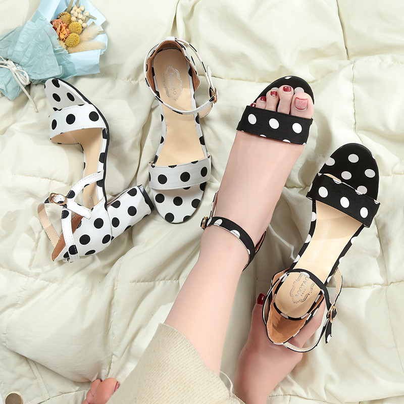 PHYANIC Women Sandals Female Sexy Ankle Strap High Heels Party Shoes Open Toe Buckle Cover Heels Ladies Sweet Polka Dot Shoes red high heels women shoes open toe ankle strap blue sandals stiletto chic fringed party d orsay shoes ladies large size 16