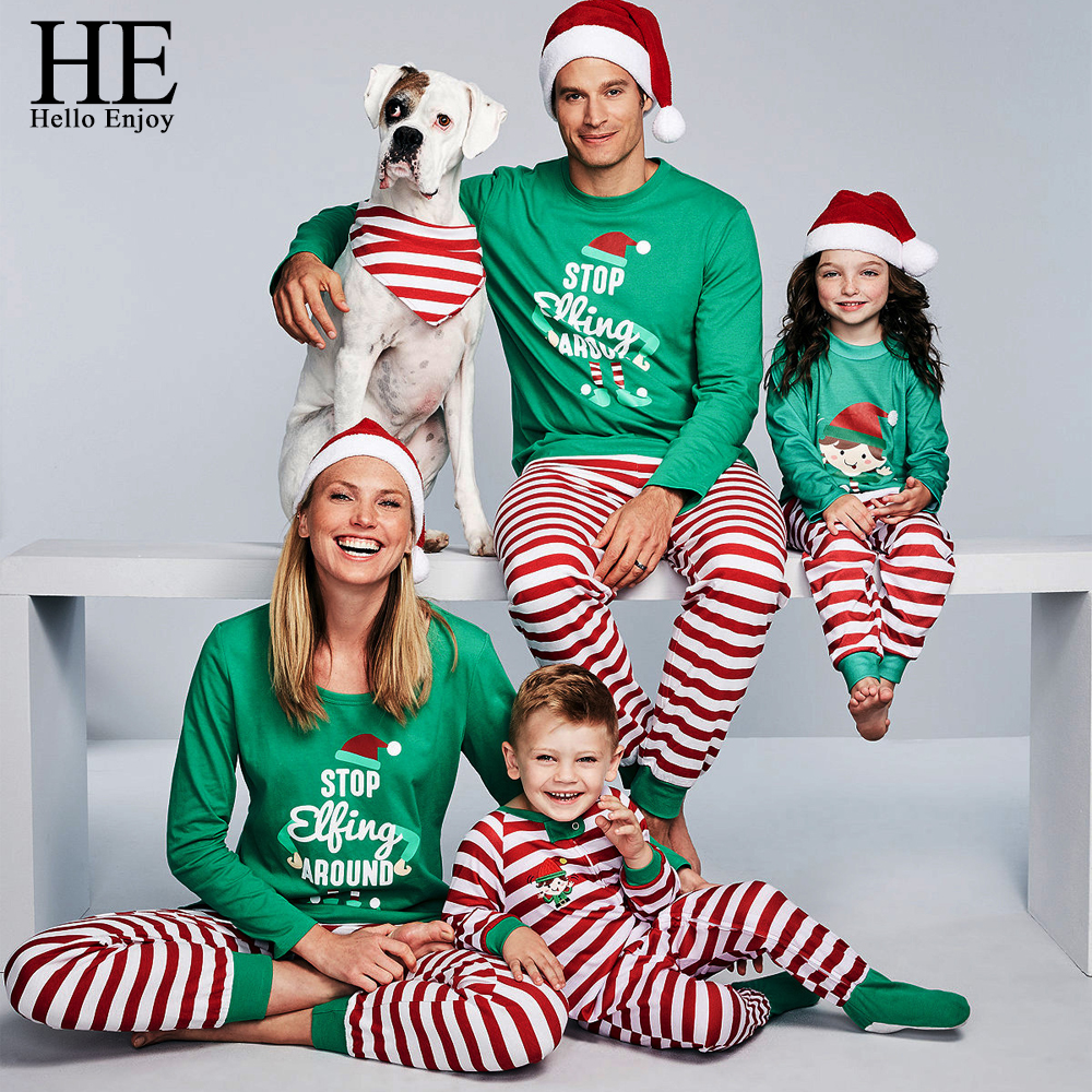 HE Hello Enjoy Family Christmas Pajamas Set Striped Mama Daughter Father Son Matching Clothes Navidad Family Look Outfit Nighty