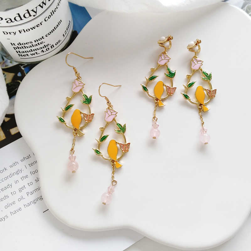 Fashion girl flowers birds and collars heartly droplets wreath leaves the bird earrings fashion woman earrings fine jewelry