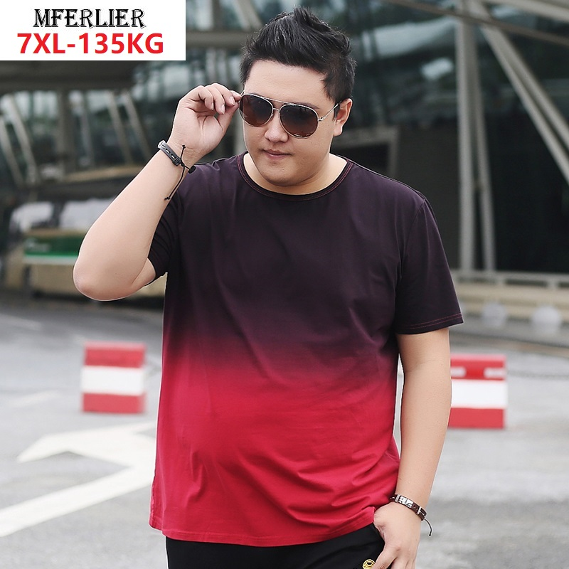 Men's Short Sleeve T-shirt Color Gradient Tees Large Size Plus Big T-Shirt Summer Fashion Cotton 7XL 6XL Streetwear Loose Tops