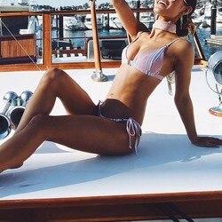 Bikini 2019 Mujer Bikini Push Up strój kąpielowy kobiety wyściełana strój kąpielowy dwuczęściowy oddzielne Sexy Biquini SwimmingSuit dla kobiet różowy D # 5