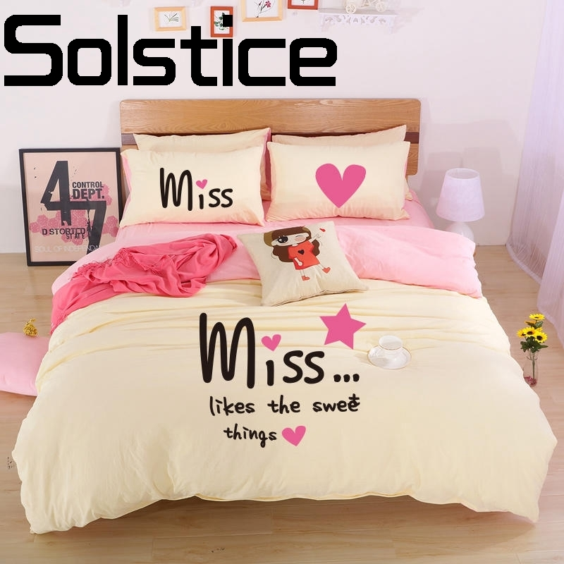 Solstice Home 2018 comfortable washing yarn active printing and dyeing cartoon bedding bed linen pillowcase quilt cover 3/4pcs