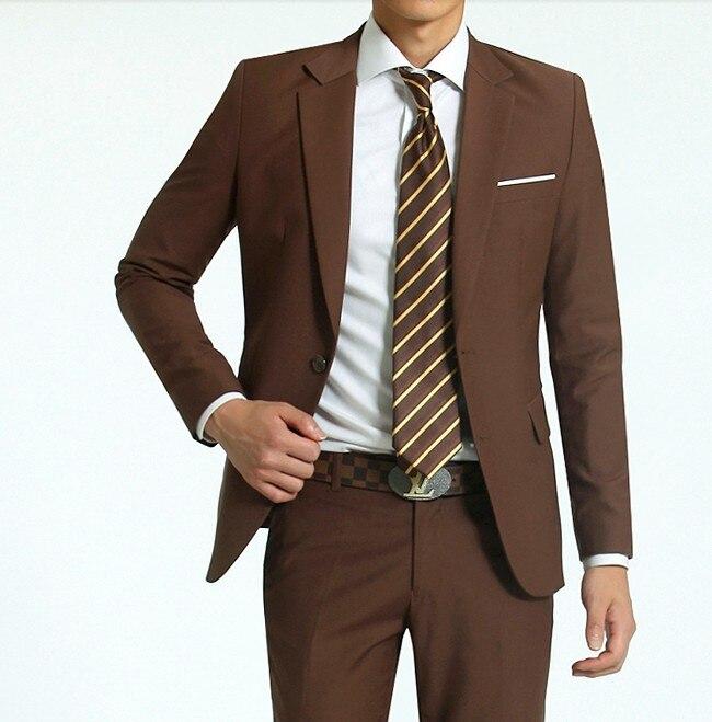Online Shop New arrival men's coffee 2 button slim fit suits ...