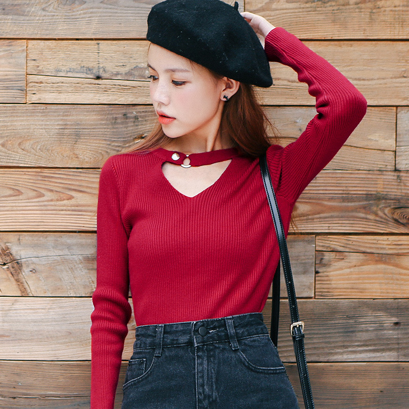 Halter V Neck Shirt Women Rivet Long Sleeve Sexy Slim Korean Womens Blouses Camisas Femininas Manga