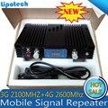 High Gain 70dB 3G 4G Dual Band Telefone Celular Móvel Repetidor de sinal WCDMA 2100 Mhz + LTE 2600 MHz Dual Band Sinal De Reforço com lcd