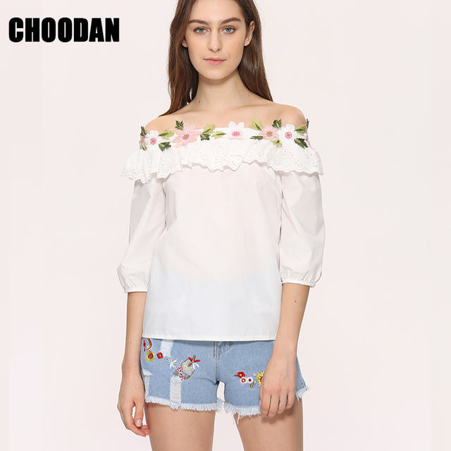 696a0b7bac2 Blouses And Shirts Elegant Flower Embroidery Sexy Slash Neck Hot Sale 2018 Summer  Korean Fashion Women Blouse Shirt White Tops
