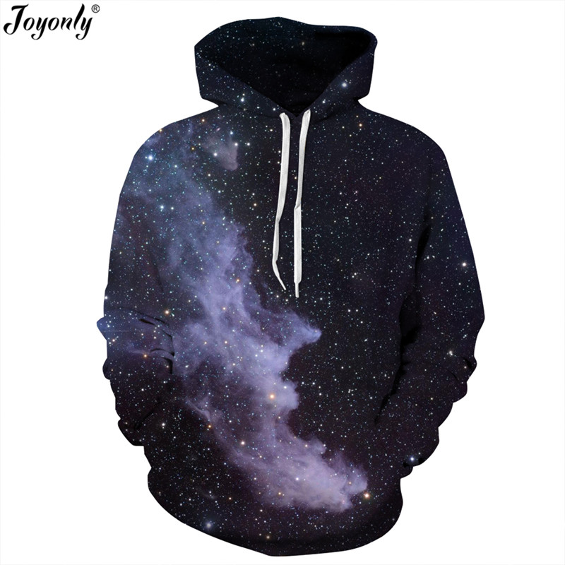 Joyonly New 3d Long Sleeved Hoodies Galaxy Space Print Hooded Hat Loose Large Size Casual Women/Men Sweatshirt Pullover Tops