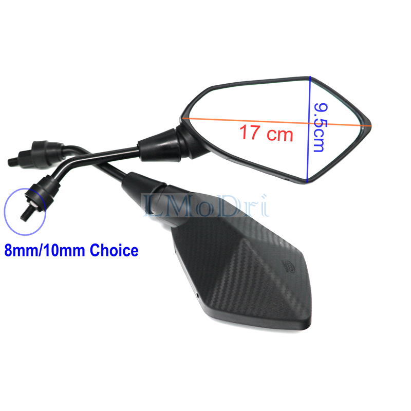 LMoDri 2Pcs/Pair Motorcycle Mirror Scooter E-Bike Rearview Mirrors Electrombile Back Side Convex Mirror 8mm 10mm Carbon Fiber 1