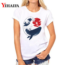 Women T-shirt Water Wave Fish 3D Print T Shirt Short Sleeve hip hop Tee Summer graphic t shirts plus size White women Tops water drop 3d print t shirt