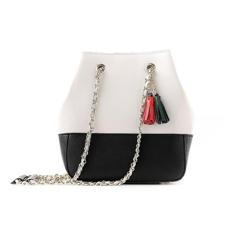 LOEIL Leather female bag slung chain hit color ladies diagonal cross bag tassel bucket bag