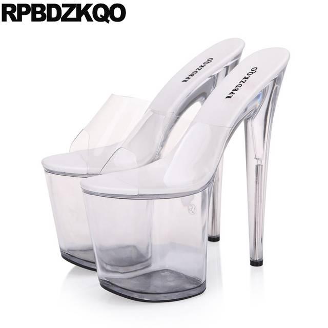 Stripper Shoes Crossdressed Large Size 11 Fetish Stiletto Slides Women  Glass Slipper Sandals Pumps Perspex Platform 9efbd046cbe0
