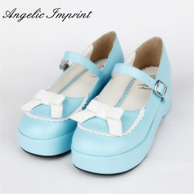 Japanese Sweet Lolita Mary Jane Shoes Cute Bowtie Sky Blue Platform  Comfortable Round Toe Girls Shoes
