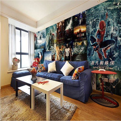 large mural bedroom living room sofa background wall fashion hollywood movie super hero movie. Black Bedroom Furniture Sets. Home Design Ideas