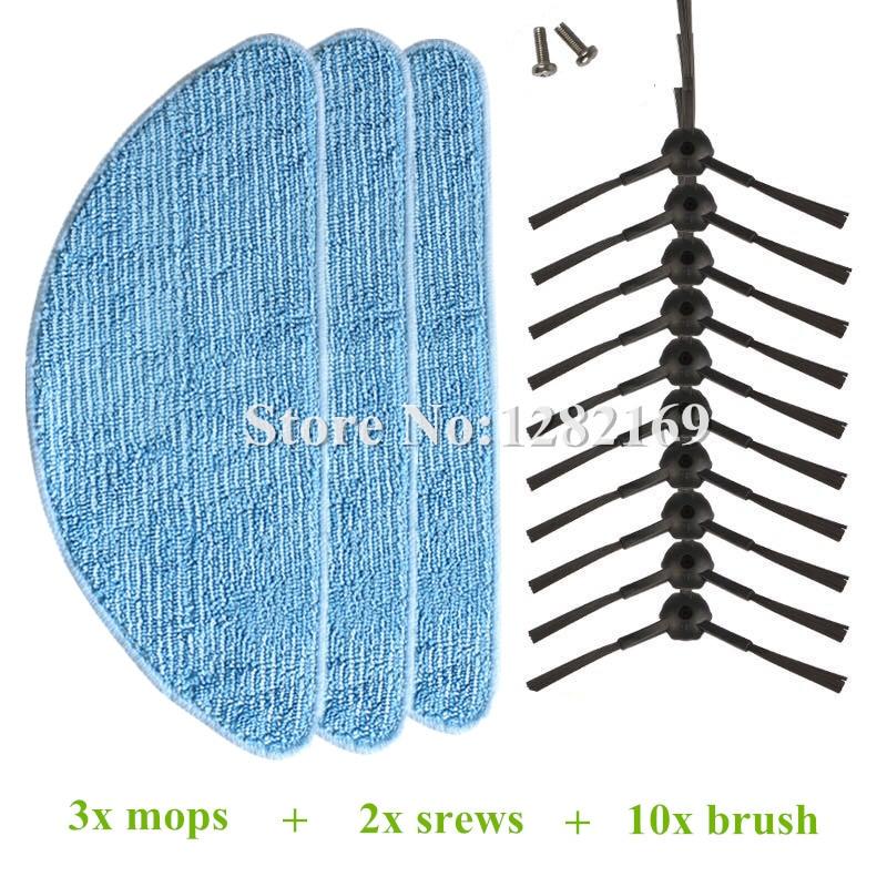10x Robot Vacuum Cleaner side brush + 2x srew + 3x Mop cloth for chuwi ilife V3 V3+ V5 (CW310) V5 PRO v5s pro Robotic cleaner 10 pcs mop cloth for chuwi v3 v5 pro v5 cw310 for home chuwi ilife v5 intelligent robotic vacuum cleaner