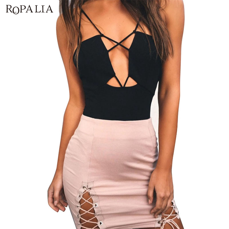 ROPALIA Sexy Women Solid Lace Up Bodysuits Ladies Backless Sleeveless Deep V Neck Rompers Shorts