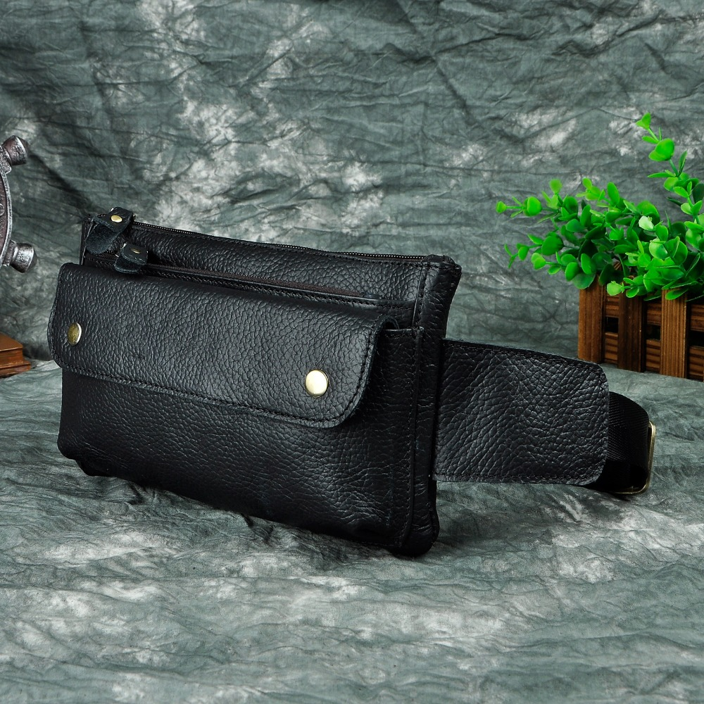 Real Leather Men Casual Design Waist Belt Bag Chest Pack Fashion Cowhide Waist Phone Cigarette Pouch 8136