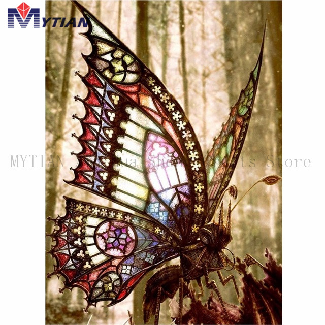 Beautiful Stained Glass Butterfly,5D Diamond Painting Art Kit,Full Square Round Drill Diamond Embroidery Home Decoration Sticker
