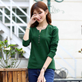 New Fashion Tee Shirt Femme Autumn Long Sleeve T shirt Women T shirt Womens Tops Fashion 2016  Solid t-shirt Camisetas  A521