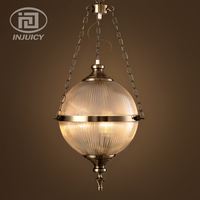Loft Vintage Industrial Edison LED Chandelier Round Glass Ball With Chain For Hotel Restaurant Cafe Bar Store Lighting