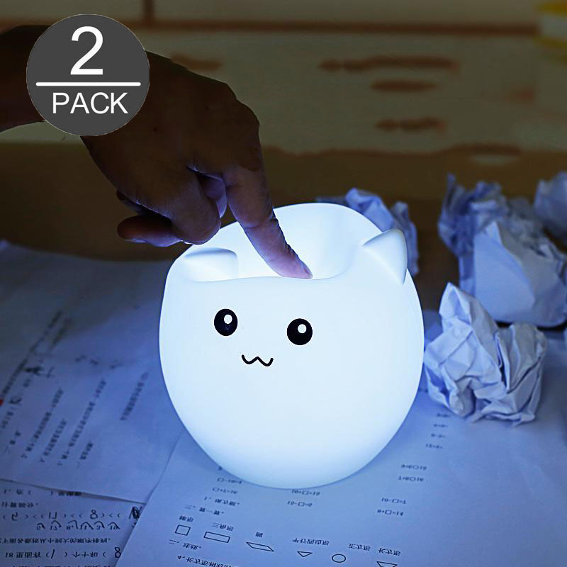 Cute Pig Shape Color Changing <font><b>LED</b></font> Night Light with USB Rechargeable for Bedroom 2Pack