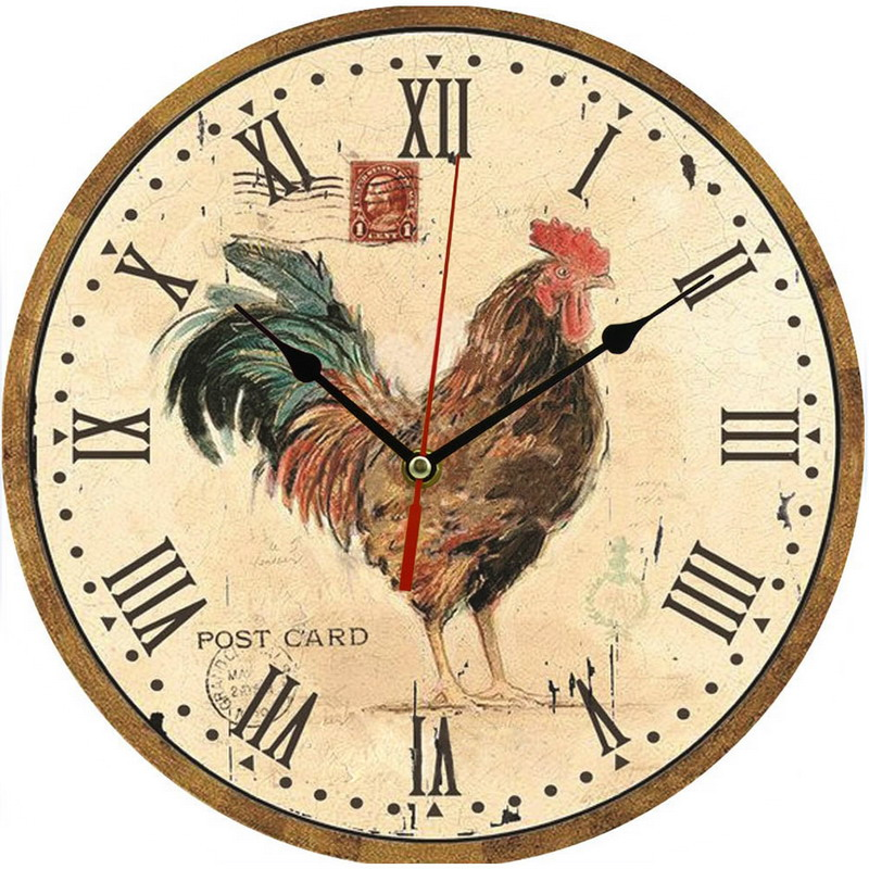1 Pc Vintage Wooden Wall Clock Modern Design Rustic Style