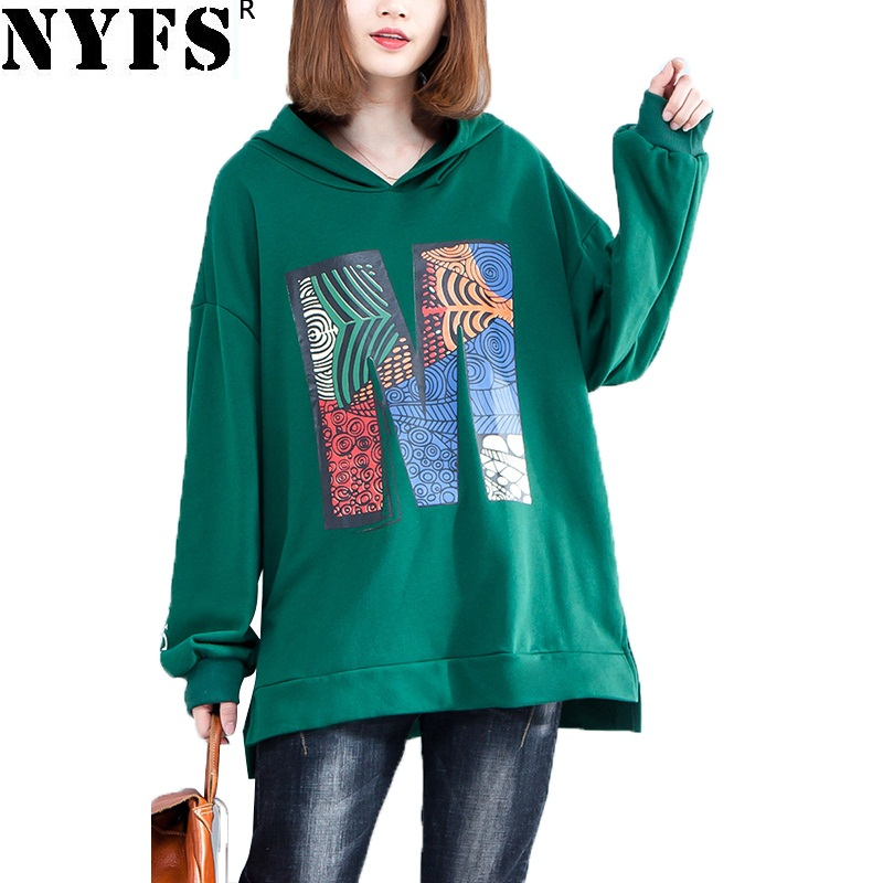 NYFS 2018 New Style Spring Autumn women hoodies Loose large size pullover jacket Coat