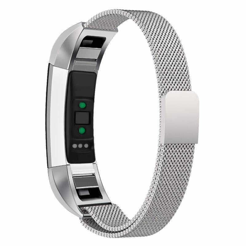 الذهب الأسود حزام (استيك) ساعة حزام استبدال Milanese المغناطيسي حلقة الفولاذ المقاوم للصدأ قفل مغناطيسي باند ل Fitbit ألتا/ألتا HR
