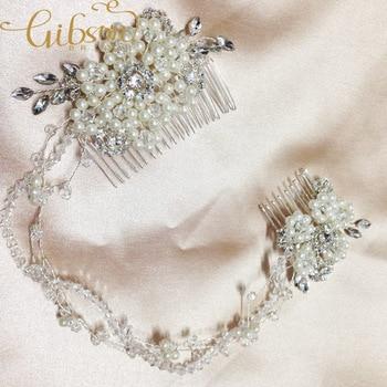 Free Shipping Silver Clear Rhinestone And Pearl Floral Vine Comb Bridal Headband Wedding Hair