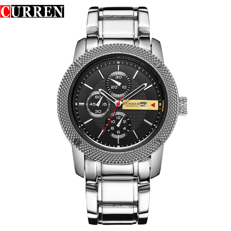 Curren 8069 Luxury Sport Quartz Men Wrist Watch Analog Round Wristwatch With Stainless & Plated Metal Black Band Hours Date