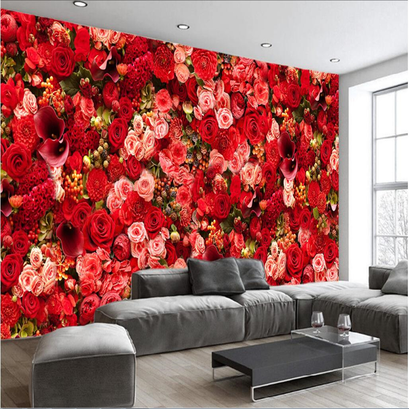 Us 8 85 41 Off Beibehang Large Custom Wallpaper Mural Hd Red Rose Flower Bouquet Theme Living Room Background Wall Wallpaper For Walls 3 D In