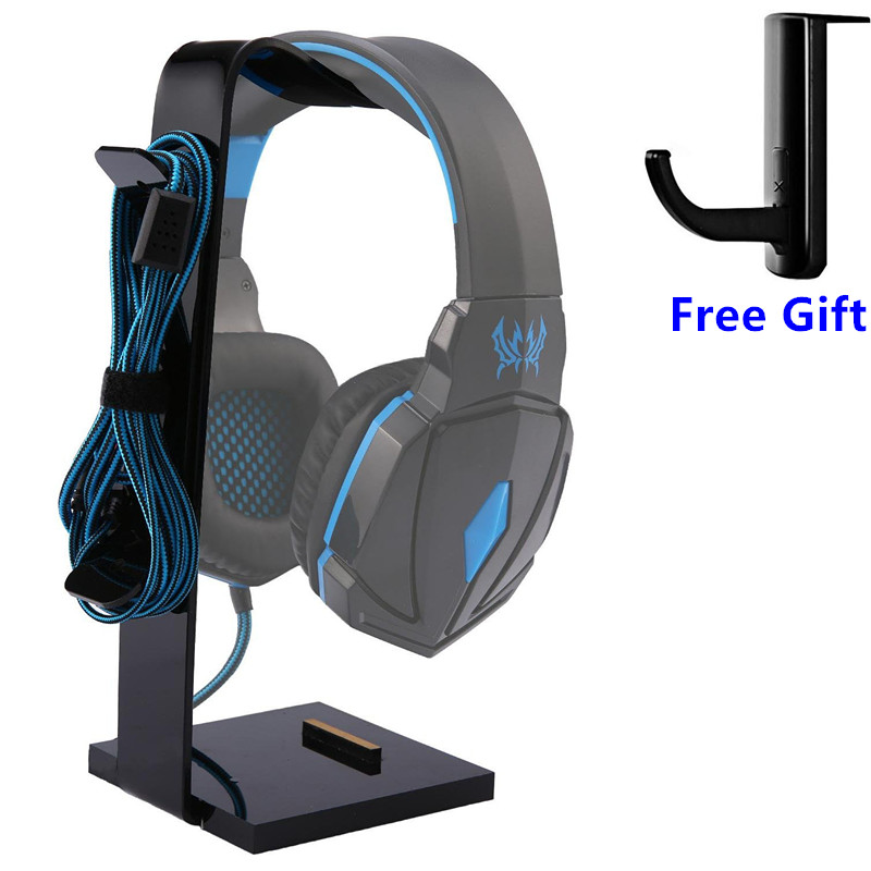 Gaming Headphone Stand Headset Holder Earphone Support Hanger Base Cradle W/ Cable Organizer Solid Base For All Headphone Size