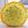 2017 Невесты Свадебный Букет Дешевые Желтый/Красный Свадебные Цветы Свадебные Букеты Искусственные Свадебный Букет Розы buque де noiva