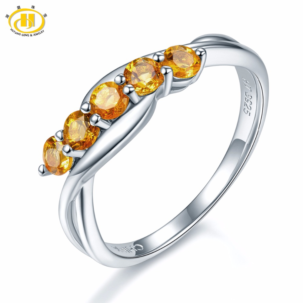 Natural Citrine 925 Sterling Silver Rings 0.51 Carats Natural Citrine Gemstone Women' Birthday Gifts Original Design Jewelry