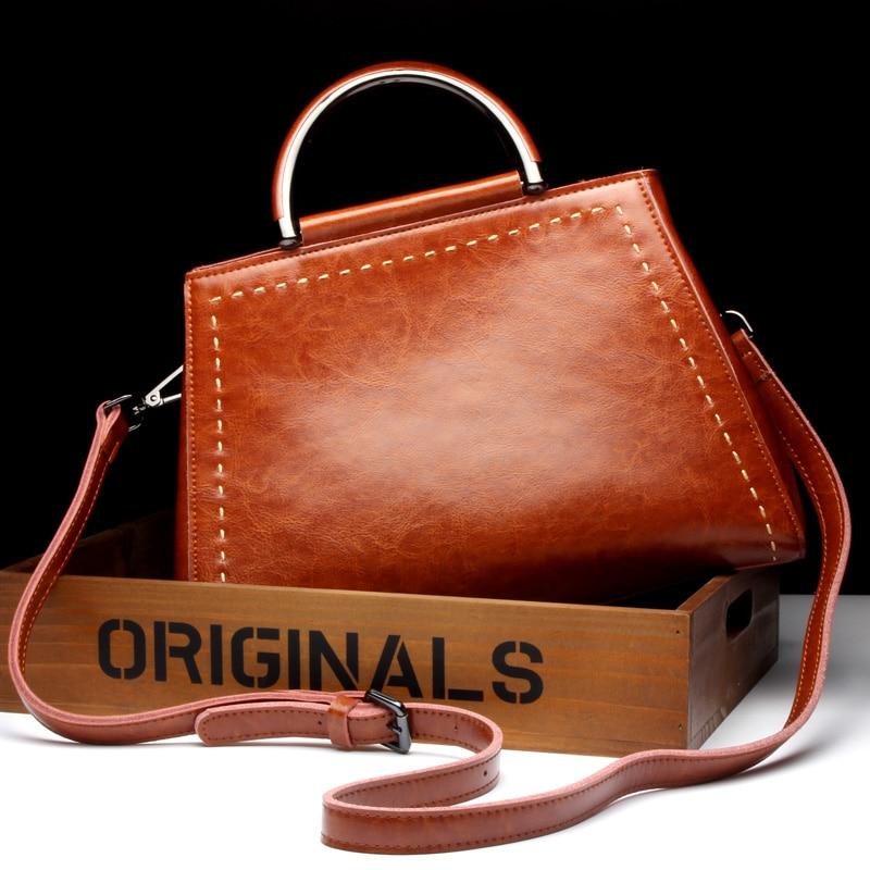 New Arrival luksusowe torebki damskie torby projektant wosk z oliwek prawdziwej skóry dużego ciężaru damskie na ramię torba na co dzień kobiety Messenger torby brązowy bolsos w Torby z uchwytem od Bagaże i torby na  Grupa 2