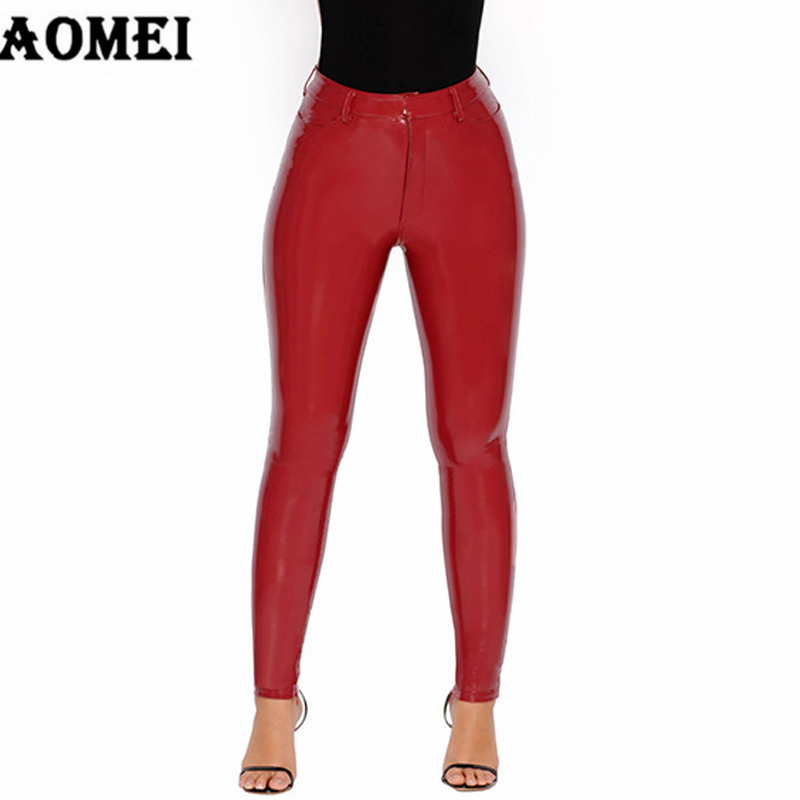 Women Pants Wet Look PU Leather Tight Sexy Red Black Bodycon Lady Trousers Elegant Winter Spring Femme Fashion 2020 New Arrival