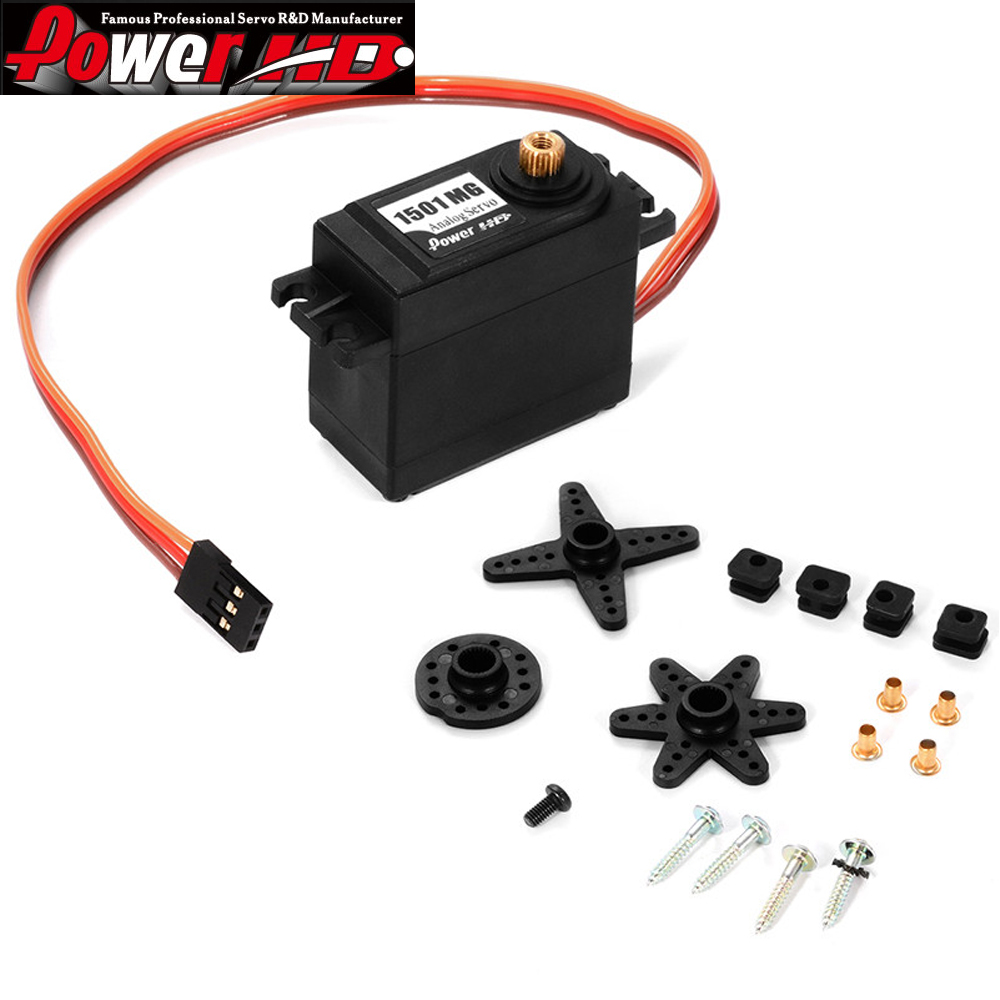 4 stks / partij 100% Originele High-Torque RC Auto Servo Power HD 1501 MG 17 KG rc auto servo analoge servomotor
