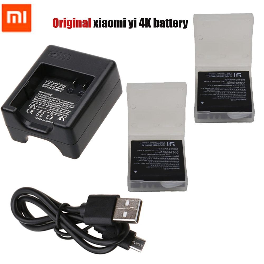 Original Xiaomi Yi 2 4K battery pack +USB Dual Bateria Charger For XiaoYi 2 4K Xiaomi Yi II 4K action camera Accessories