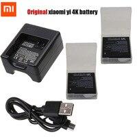 Original Xiaomi Yi 2 4K Battery Pack USB Dual Bateria Charger For XiaoYi 2 4K