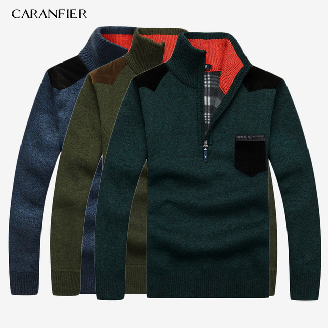 CARANFIER 3PC SNew 2019 Mens Sweaters Thick Warm Winter Zipper Pullover Cashmere Wool Sweater Men Knitwear Homme Plus Size 3XL 1