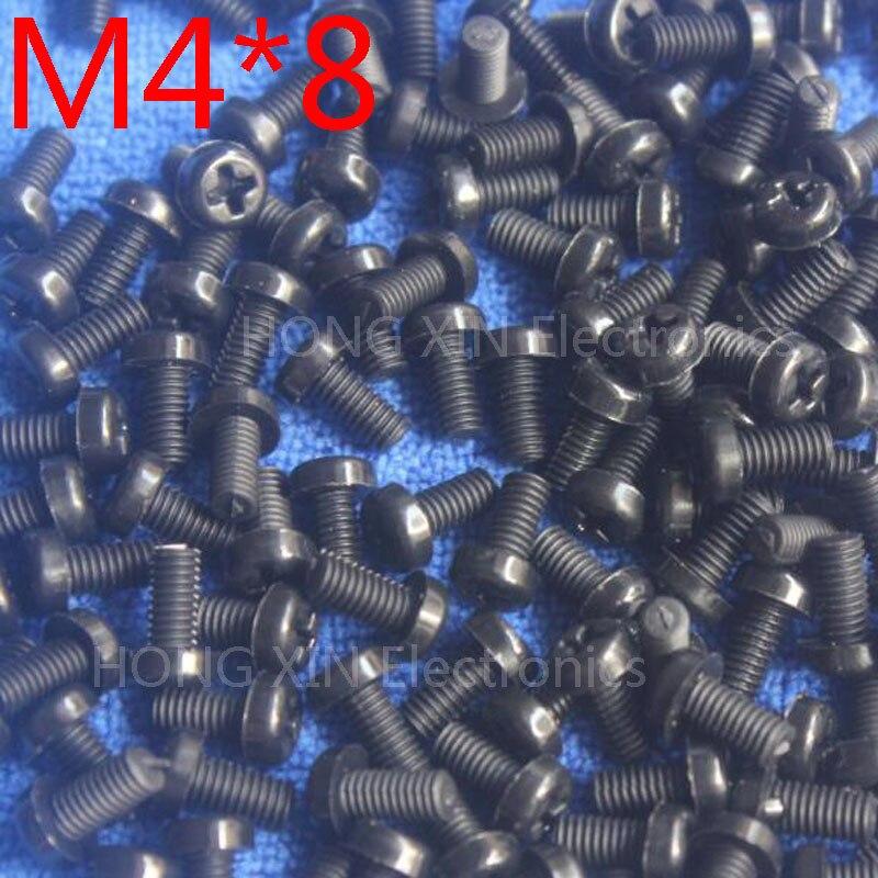 M4 * 8 noir 8mm 1 pièces tête ronde vis en nylon boulons en plastique tout nouveau RoHS attaches conformes assortiment PC/conseil bricolage