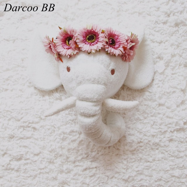 Fabulous Handmade 3D White Elephant Plush Doll Toys Stuffed Animal Head  TE21