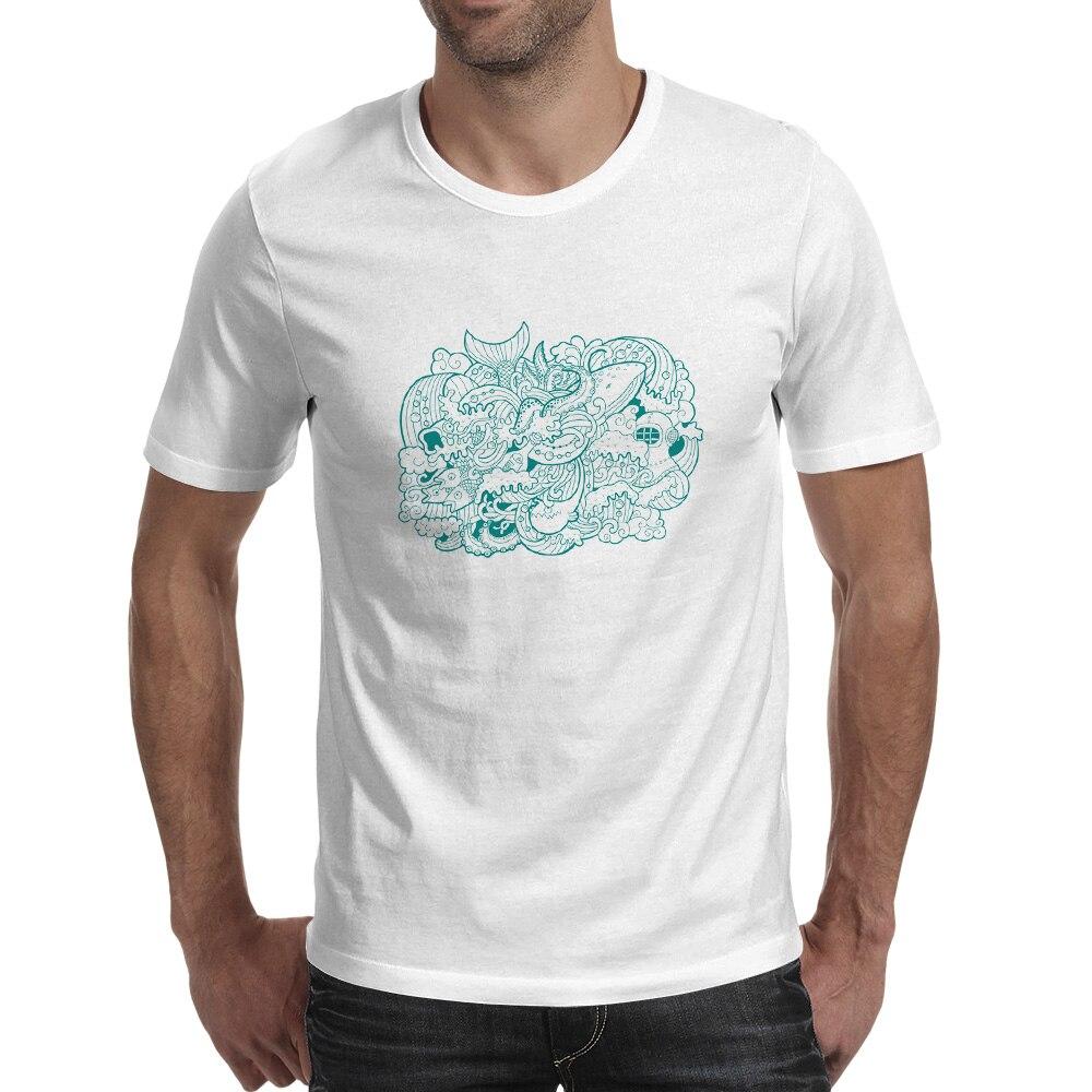 Sea Life Fish Geek T-shirt Rock Skate Hip Hop Print T Shirt Creative Brand Casual Boy Men Top Tee