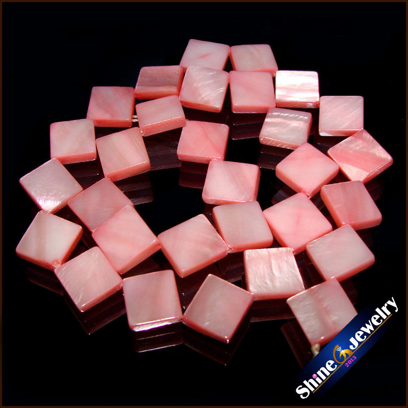 Wholesale 10mm Natural Hand Grind Square Shape Pink Color Shell MOP Gems Loose Beads Strand 15 DIY Creative Jewellery Making