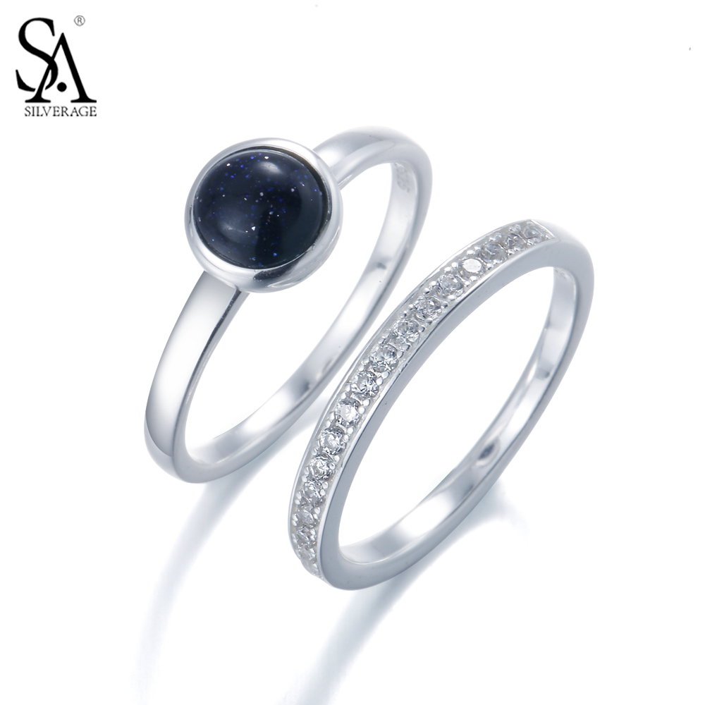 Sa Silverage Real 925 Sterling Silver Rings For Women Simple Planet Double  Ring Sets For Women Fine Diamond Jewelry Party Gift