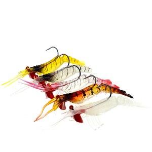 Image 2 - 1 pz esche da pesca gamberetti morbidi esche gamberetti artificiali 8cm/10.5g colori esca morbida esca bionica con gancio di piombo