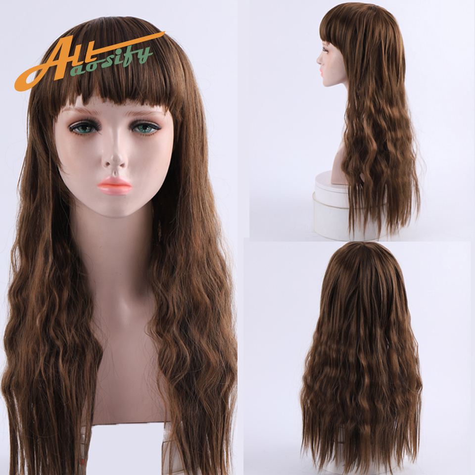 Allaosify Black Long Wigs for Women Synthetic Long Wavy Wigs for Black Women White Red Blonde Wigs with Bangs Cosplay Party(China)