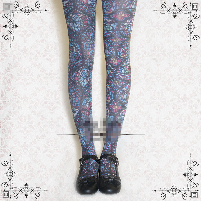 Princess sweet lolita pantyhose The church stained glass printing pantyhose LKW05